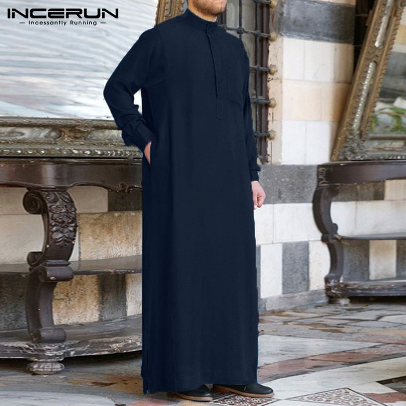 Domple Mens Stand Collar Long Sleeve Loose Muslim Arab Thobe Thawb Caftan Robes