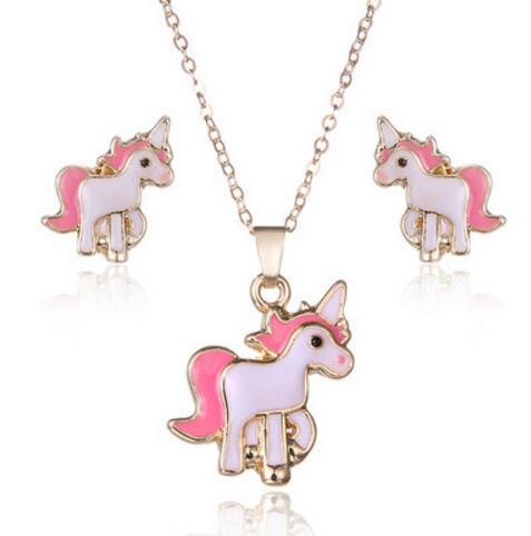 Los niños joyas cadena niño unicornio arco iris plata grabado nombres caballo Unicorn