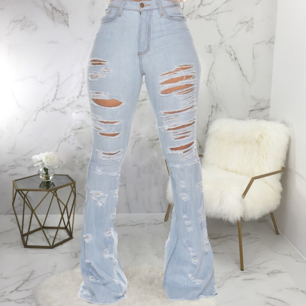 New Design fashion women Blue Color Jean Boot Cut Pants Casual Street Lady Long Denim Pants Sexy Club Wide Leg Jeans (27)