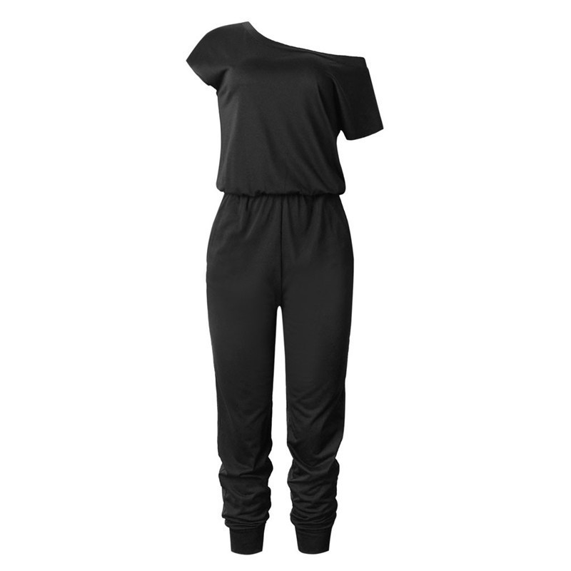 Black Women Casual Jumpsuit Off Shoulder Short Sleeve Rompers With Pocket Polyester Solid Casual Playsuit Jumpsuit 2019 Y19060501