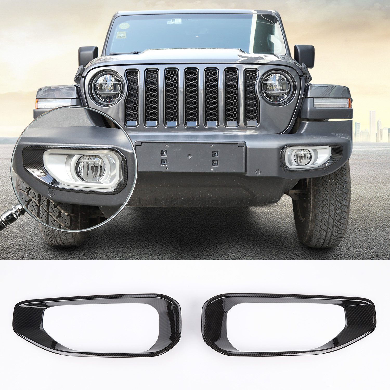 Front Fog Light Cover Trim Lamp Decor Frame Fit 2018 Jeep Wrangler JL JLU Chrome