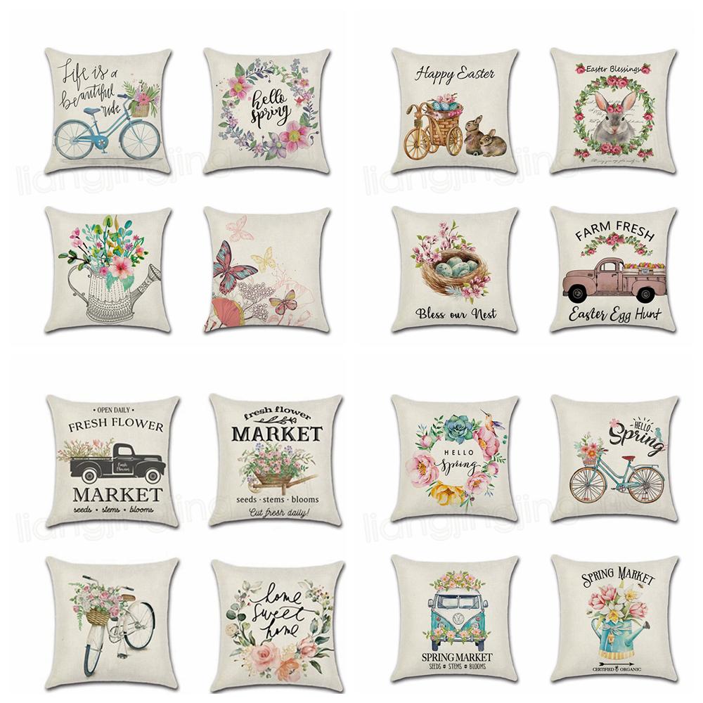Cartoon Cushion Cover Car Truck Bike Print Linen Throw Pillow Case Home Decor