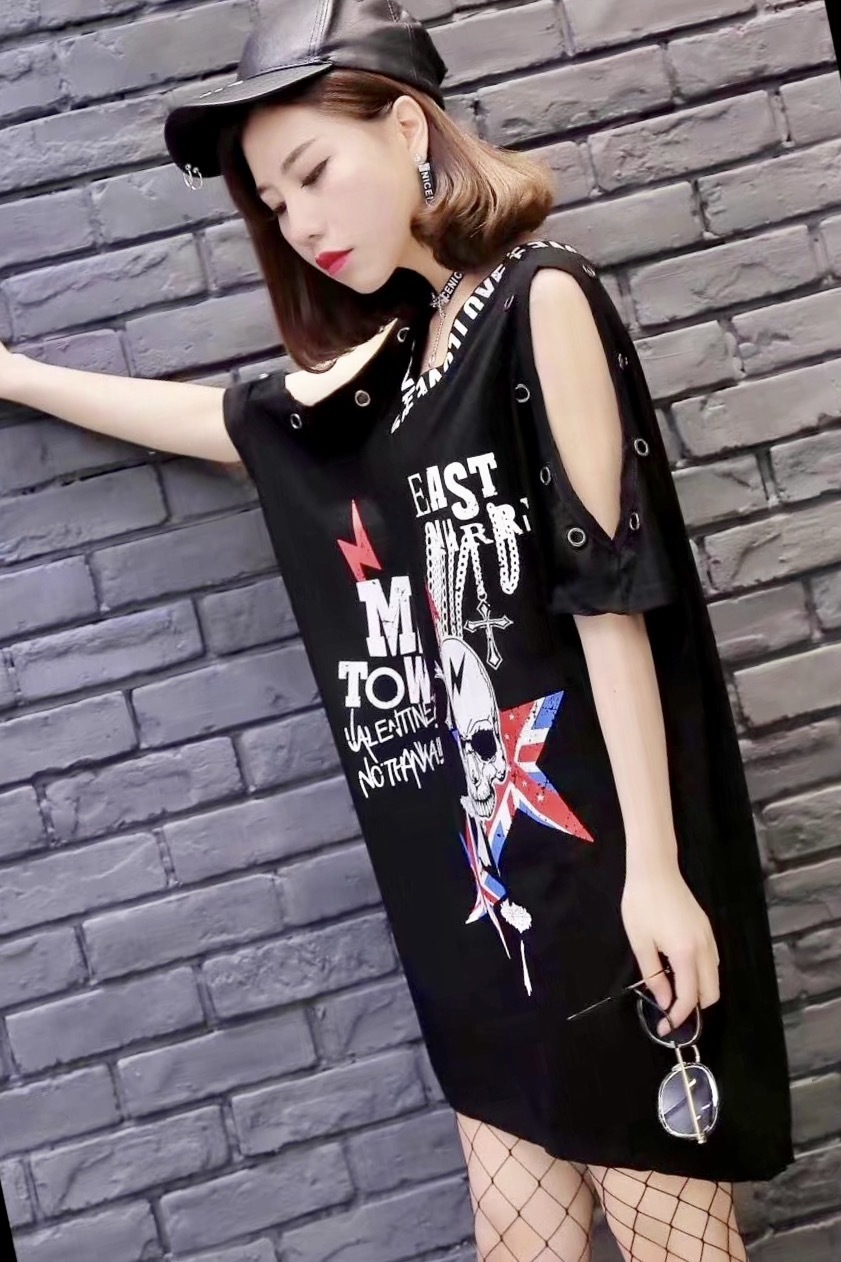 Punk Rock Summer New Fashion Skull Print Off The Shoulder Short Sleevee Cotton Plus Size T-shirt Women Clothing Tops Q190530