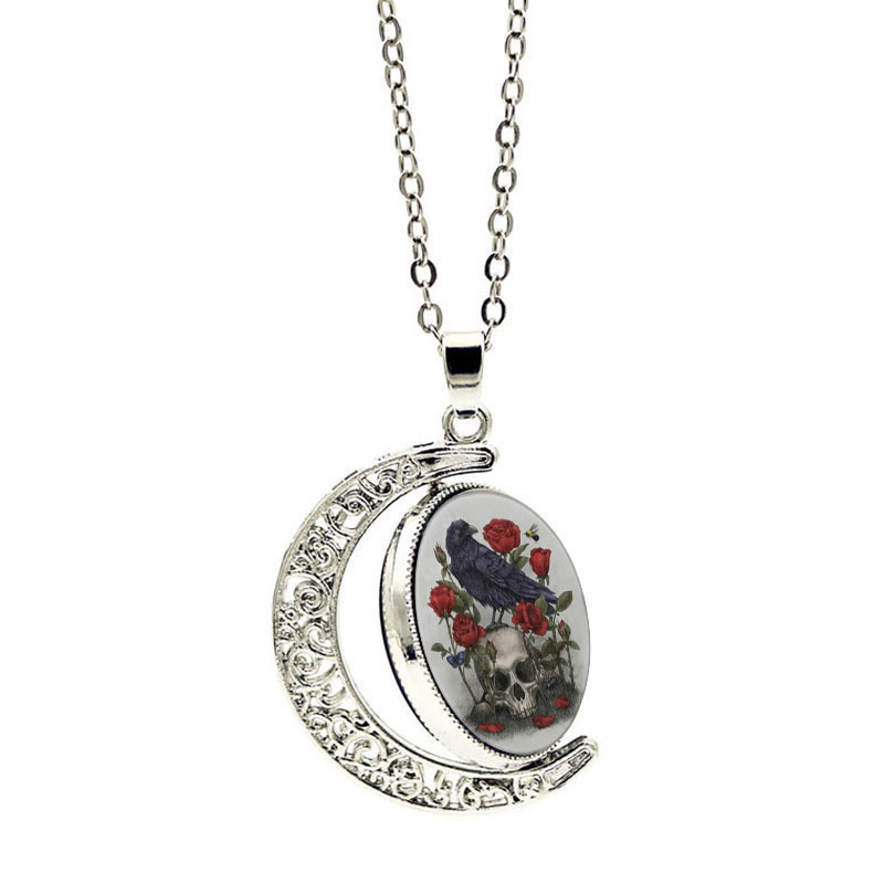 Crow Human Skeleton Head Necklace Trendy Brand Charm Party Designer Fine Jewelry Women Necklaces For Female