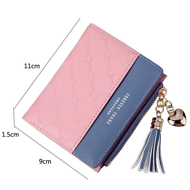 Women Wallet Female Short Paragraph Coin Purse Color Wallet Women Small Fold Wallets Tassel Zipper Button Bag Credit Card Holder (7)
