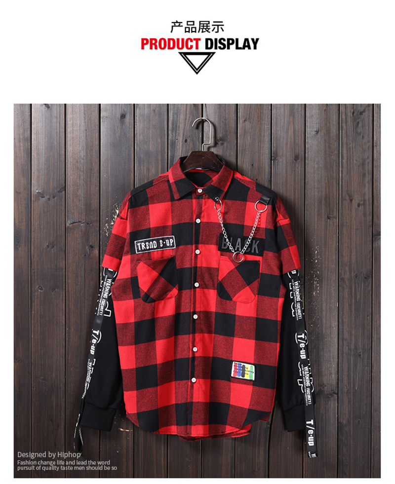 Red And Black Plaid Patchwork Shirt Men (14)