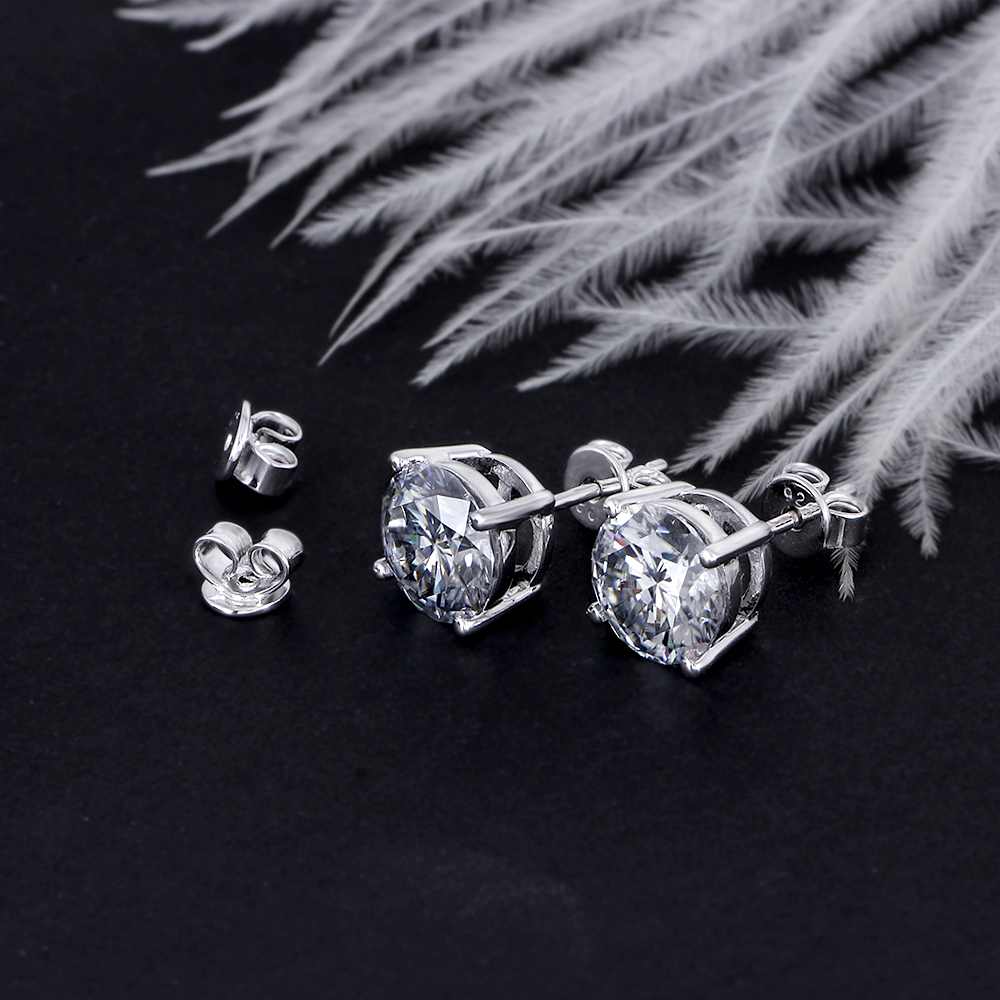 Platinum Plated Silver 4CTW 8mm Slight Grey Heart and Arrow Cut Moissanite Stud Earring Push Back for Women with 14K Pin(4)