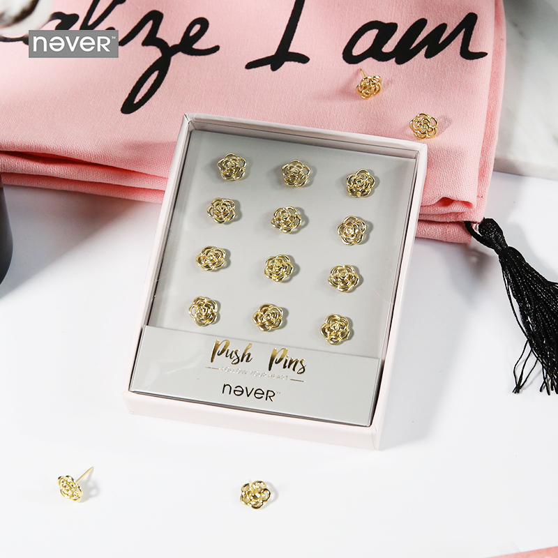 Never Rose Shape Thumb Tack Gold Metal Cork Board Safety Push Pins Thumbtack Gift Stationery Accessories Office School Supplies