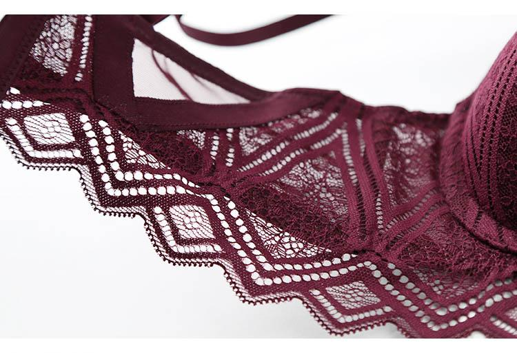 CINOON New Top Sexy Underwear Set Push-up Bra And Panty Sets Hollow Brassiere Gather Sexy Bra Embroidery Lace Lingerie Set (15)