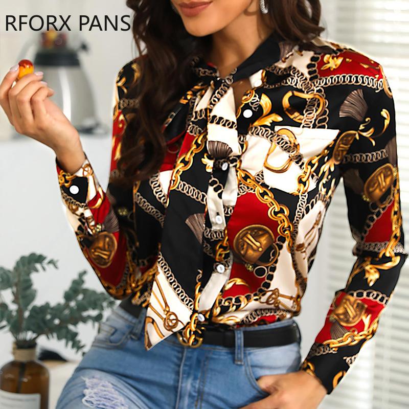 Femmes Tied chaîne de cou Imprimer Casual Shirt Tops manches longues Chemisier sexy Y200103