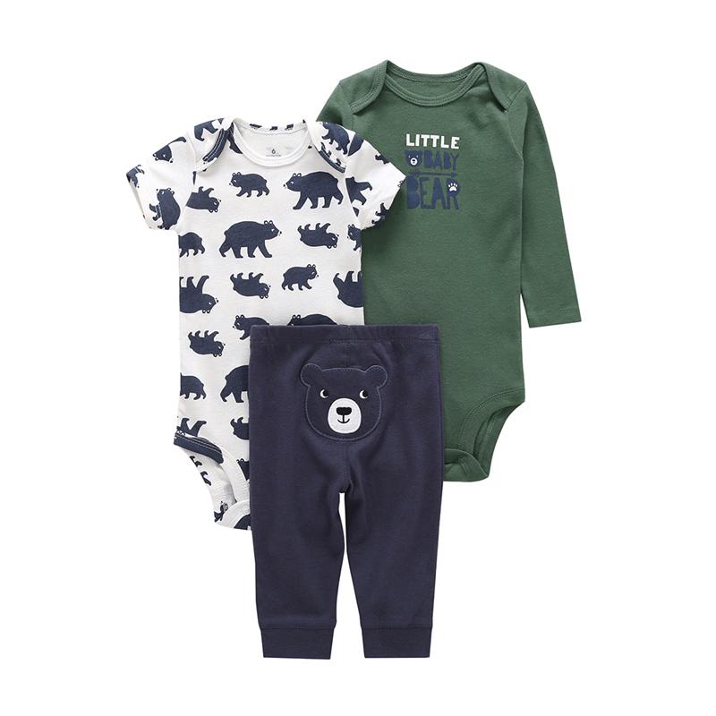 newborn baby gift 2018 baby boy girl clothes set cartoon bear bodysuit+romper cotton+pant infant boy 3 pieces outfit bebes 6-24M