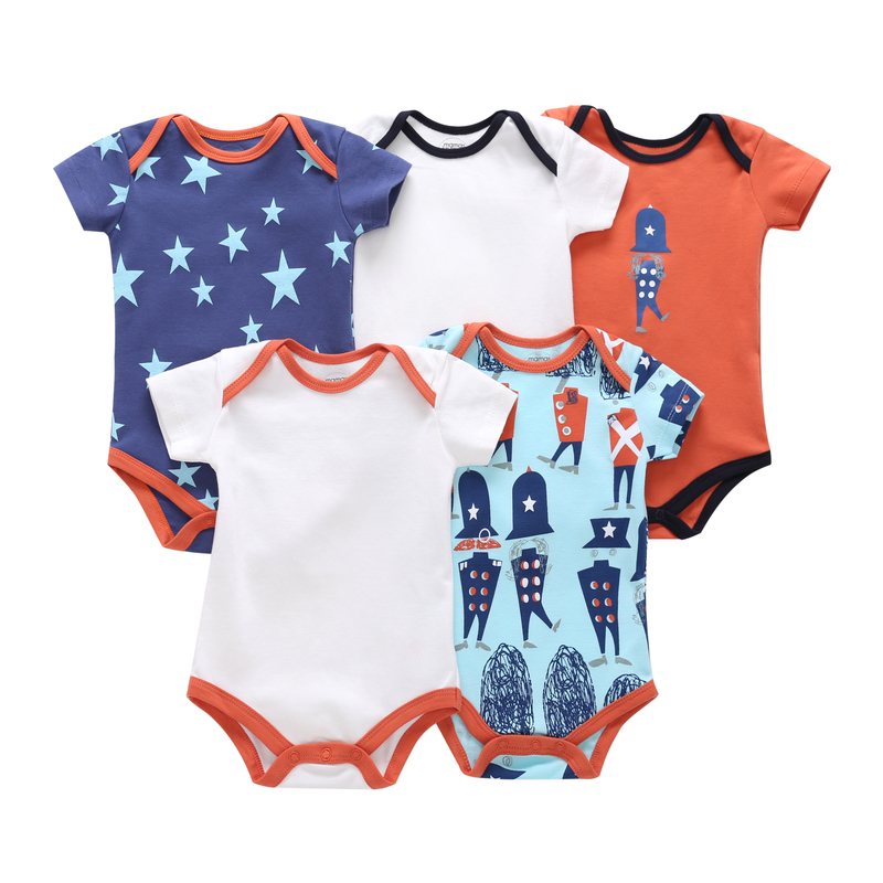 summer baby boy clothes 5pcs/lot short sleeve bodysuit cotton newborn girl gift set 2019 infant o-neck bodysuits clothing suit