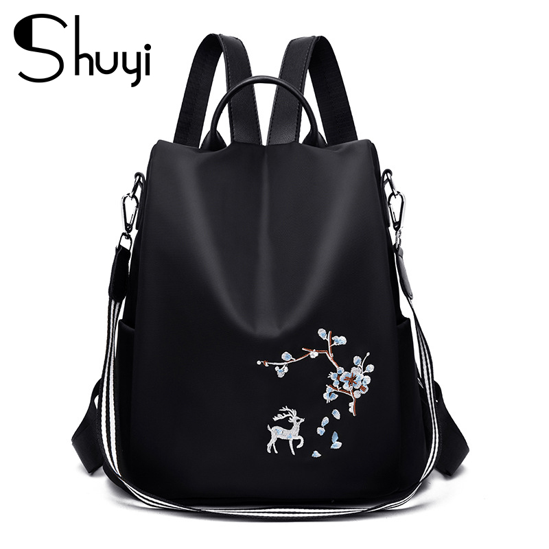 women lovers Personality fashion embroidery traveling leather backpack
