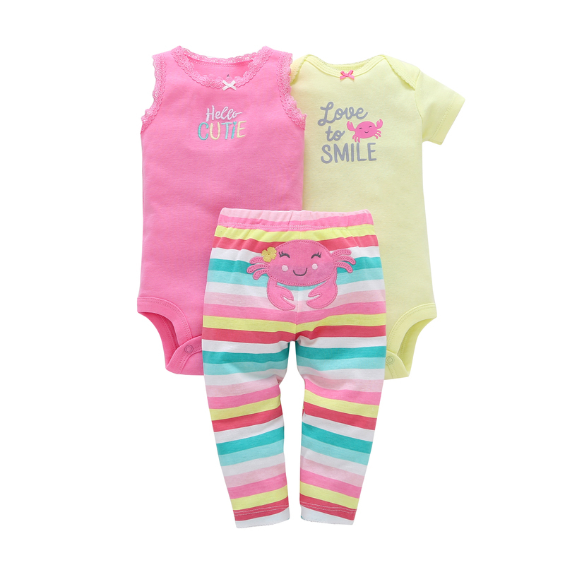 2019 summer baby girl clothes set short sleeve cute cartoon bodysuit+vest+pants newborn outfit new born clothing babies suit