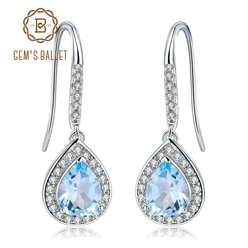 Woman Royal Oval Style Swiss Blue Fire Topaz Gems Silver Dangle Hook Earrings