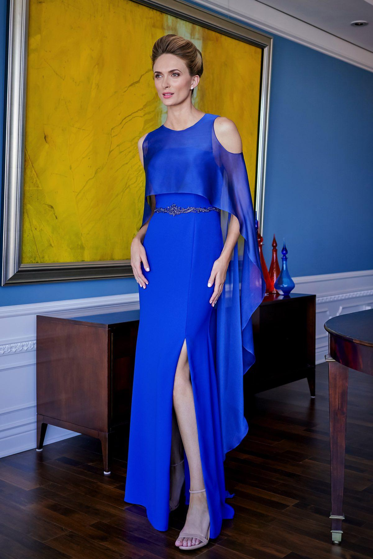 Royal Blue Mother Of The Bride Dresses With Wrap A Line Beaded Belt Chic Wedding Guest Dress High Side Split Formal Mother Gowns