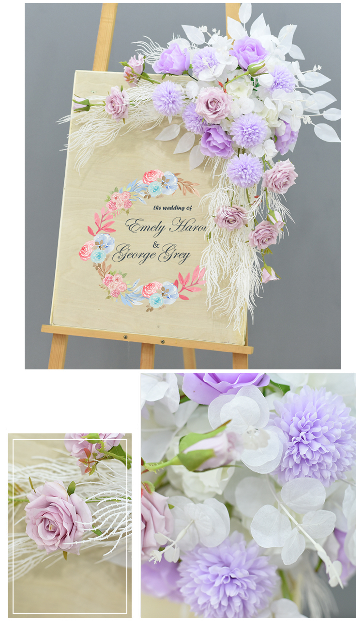 JAROWN Wedding Flower Row Welcome Sign Simulation Floral Hotel Creative Guide Decorations Photography Props Home Door Flower (13)