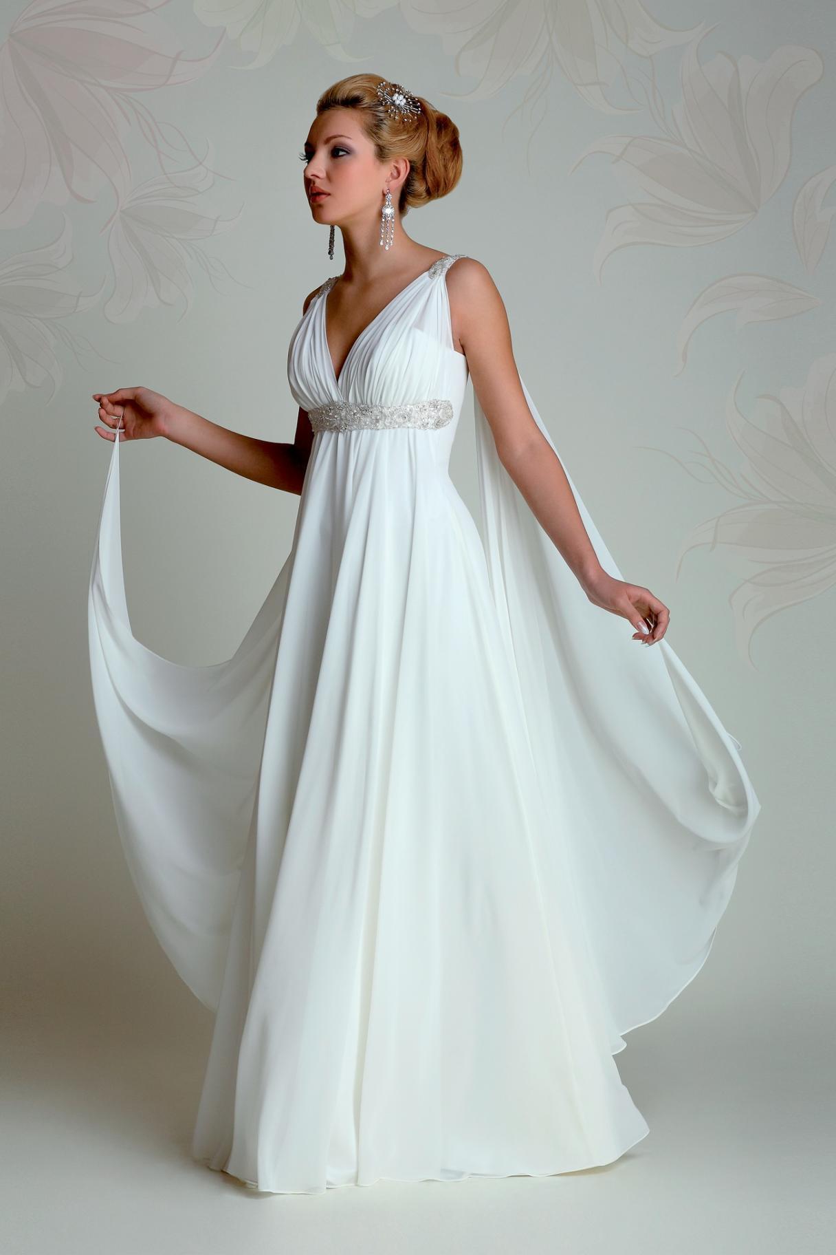 Griechische Göttin Brautkleider 13 mit V-Ausschnitt Reich einer Linie in  voller Länge mit Perlen verziert Weiß Chiffon-Sommer-Strand-Brautkleider