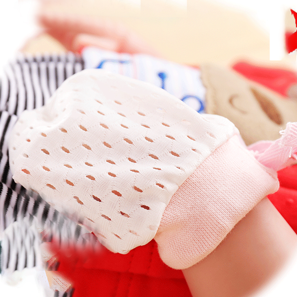 Newborn Baby Cotton Breathable Gloves No Scratch Mittens Adjustable Drawstring Gloves Baby Accessories for Baby Boys Girls 3pairs