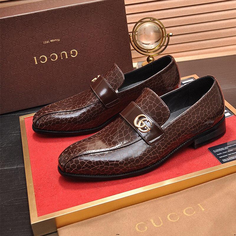 Mens Formal Oxford Shoes Slip On Style Microfiber Leather Crocodile Texture Metaldecor