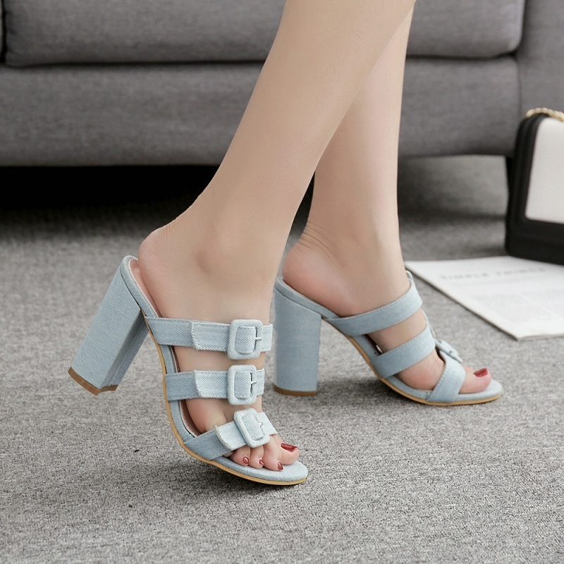 Summer Women Slippers Sexy High Heels Open Toe Sandals Slides Ladies Sweet Flower Print Buckle Strap Block Heel Woman Shoes