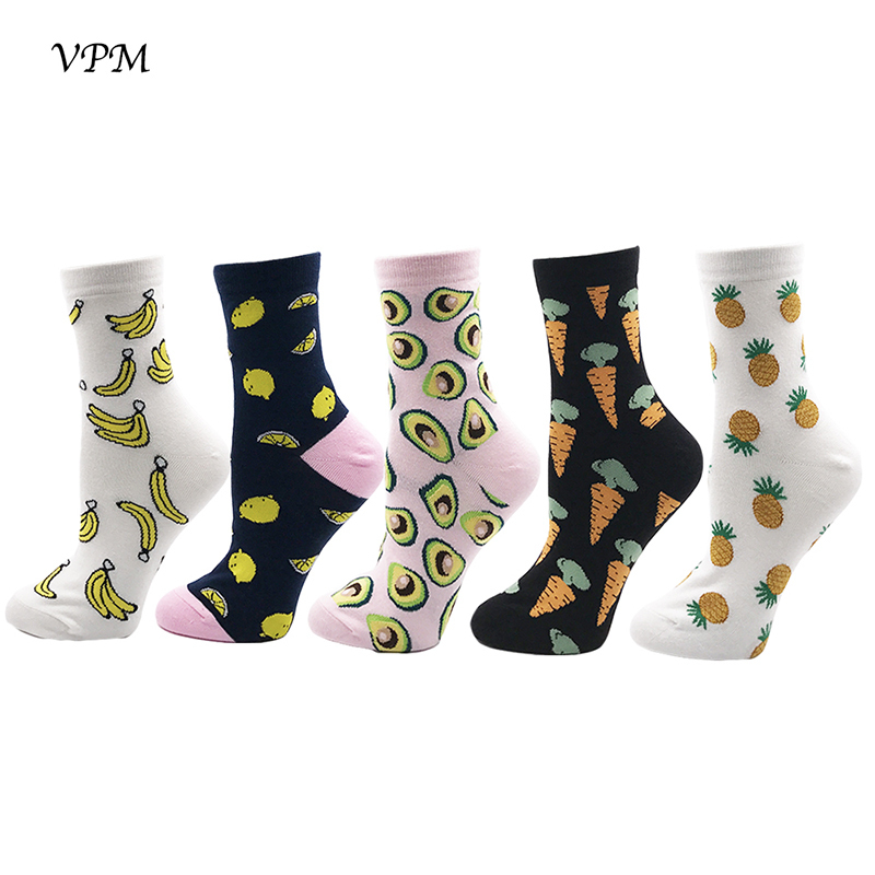 Vpm Gift Box Winter Autumn Warm Women Socks Colorful Cartoon Cute Food Milk Fruits Lovely Funny Socks /  Q190429