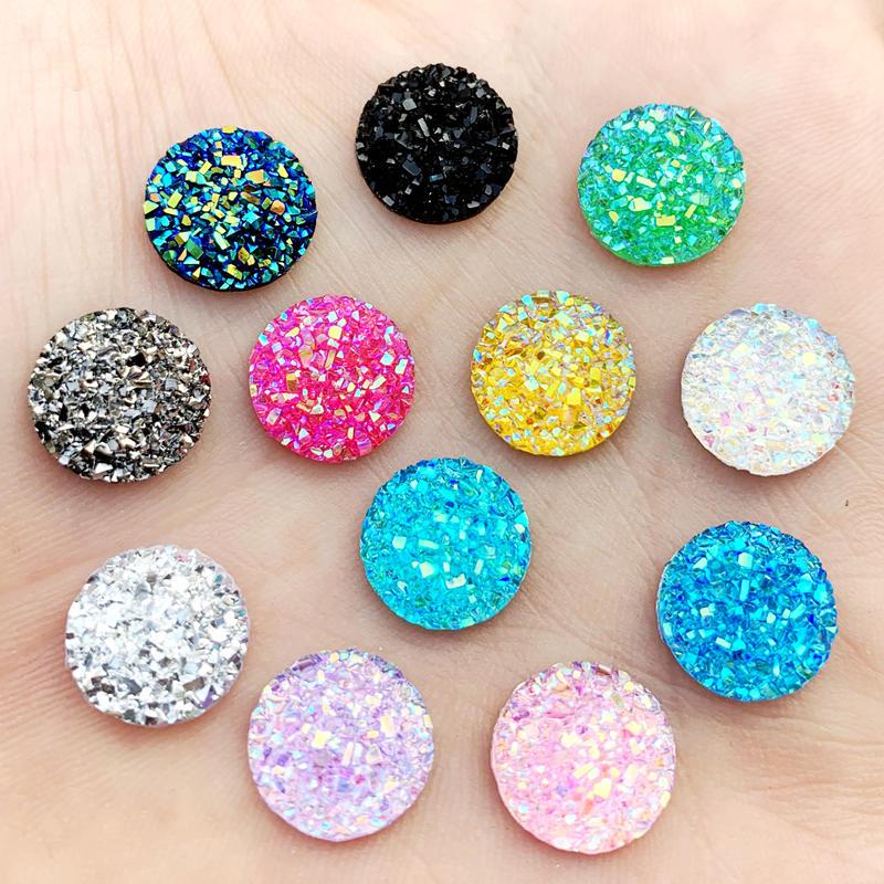 50pcs 8mm Mini AB Flower Crystal Rhinestone Cabochon Embellishment Gems Decoden