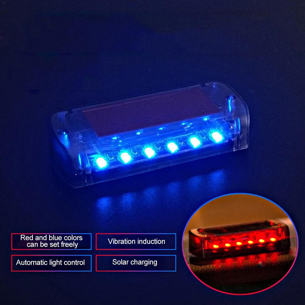 Car Stickers 3D Car Solar Power Brake Light 4 LED White Warning Light Sensitive