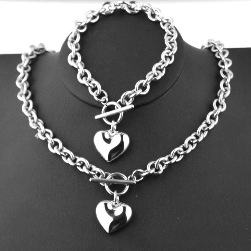 argent Rolo Chaîne Coeur Charm Toggle Bracelet Collier Set Les femmes en acier inoxydable
