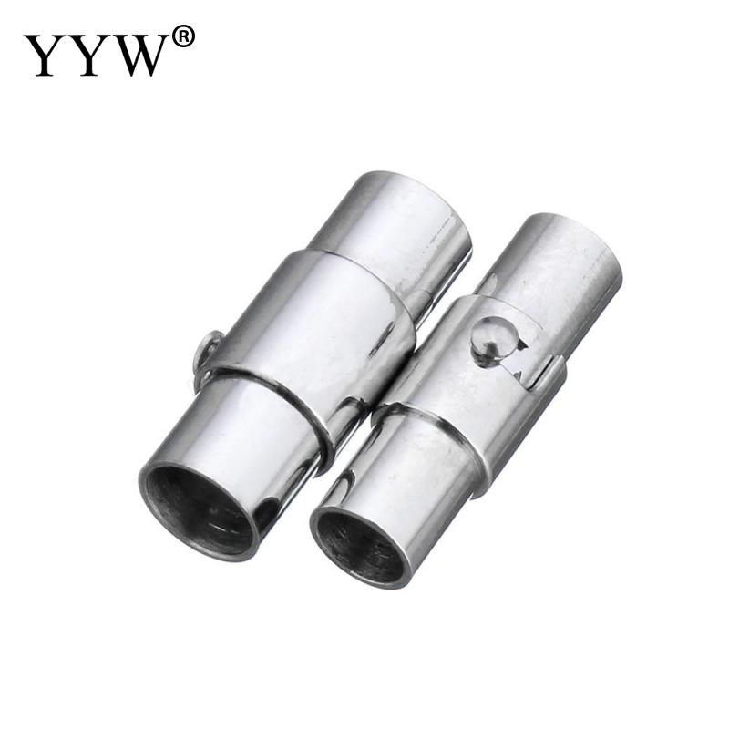 Stainless Steel Magnetic Clasps Column Original Hole 3 4 5 6 mm Leather Cord Bracelets Necklaces Connectors Jewelry Making