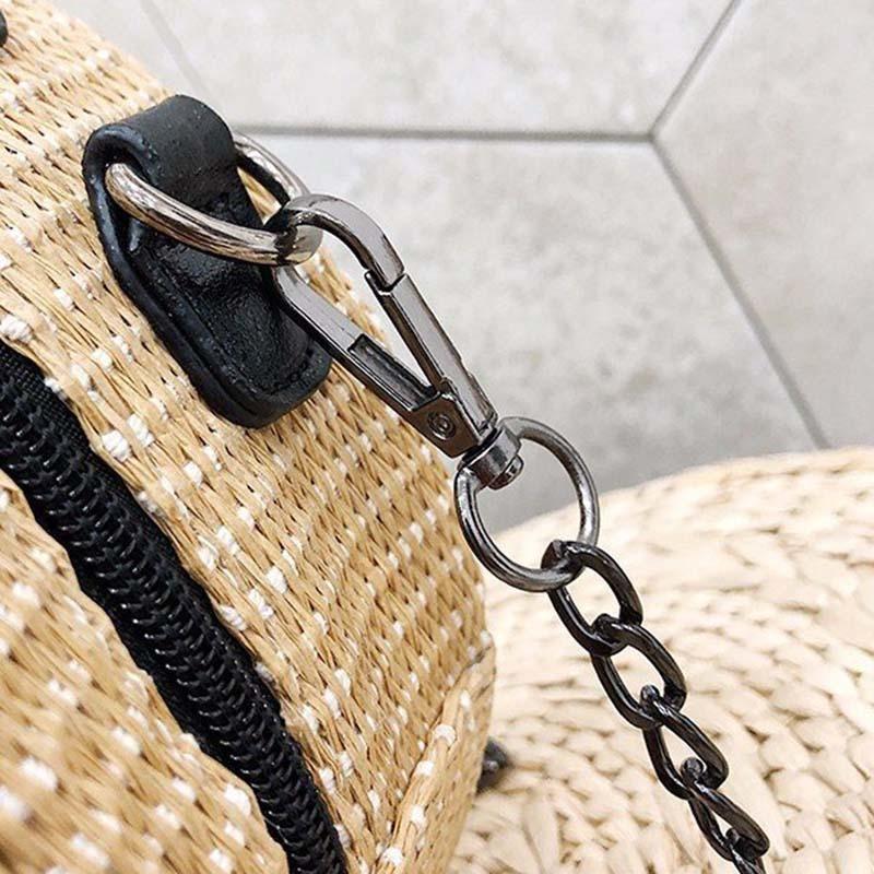 New Women Circle Handbag Summer INS Popular Female Straw Bag Cherry Lady Knit Shoulder Bag Fashion Holiday Crossbody SS7314 (4)