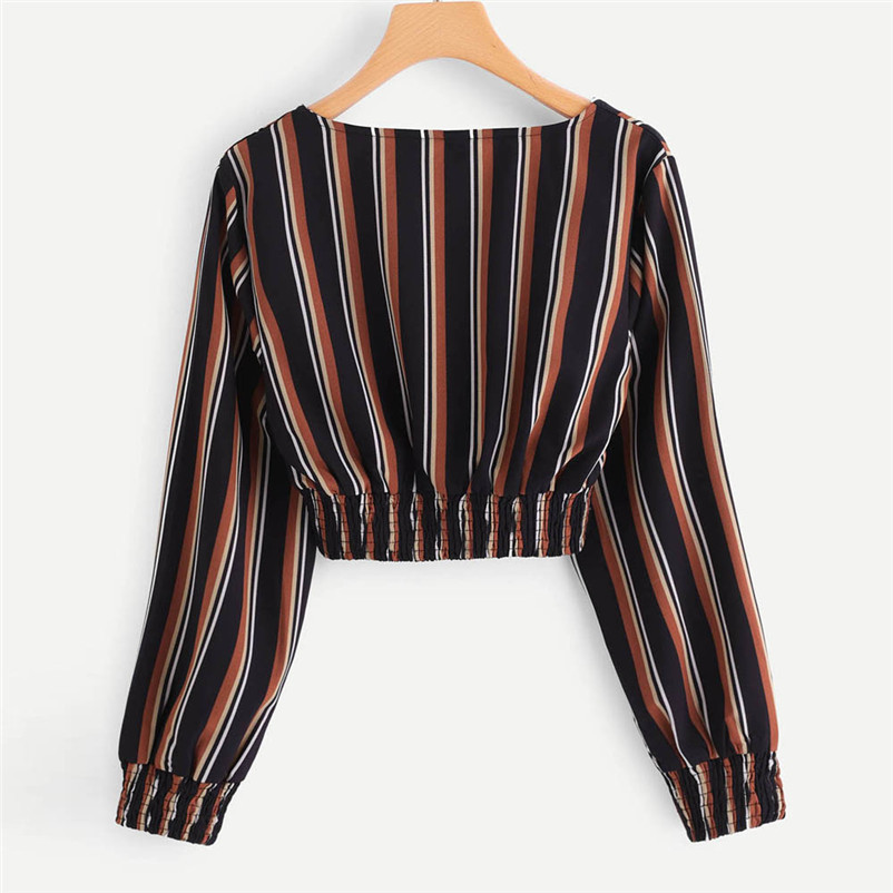 Fashion womens tops and blouses summer Autumn V Neck Long Sleeve Striped Blouse Tops Clothes Shirt camicette Y30#N (2)