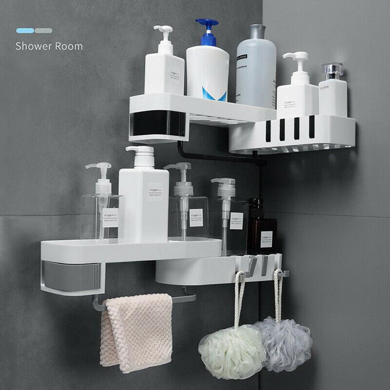 Wall Mounted Corner Bathroom Shower Gel Floating Shelf Shampoo Holder Shelves Organizer Kitchen Storage Rack Accessories Gadgets