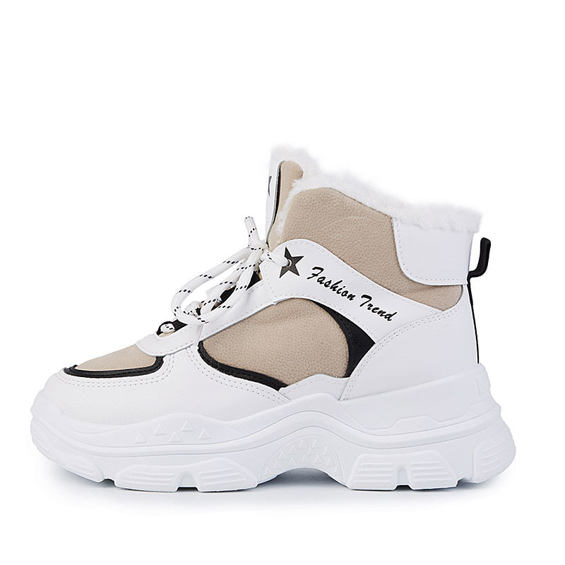 chaussures casual Designer féminin mode en plein air intérieur surface en cuir épais bas universel doublure Fluffy kaki Chaussures de sport occasionnels
