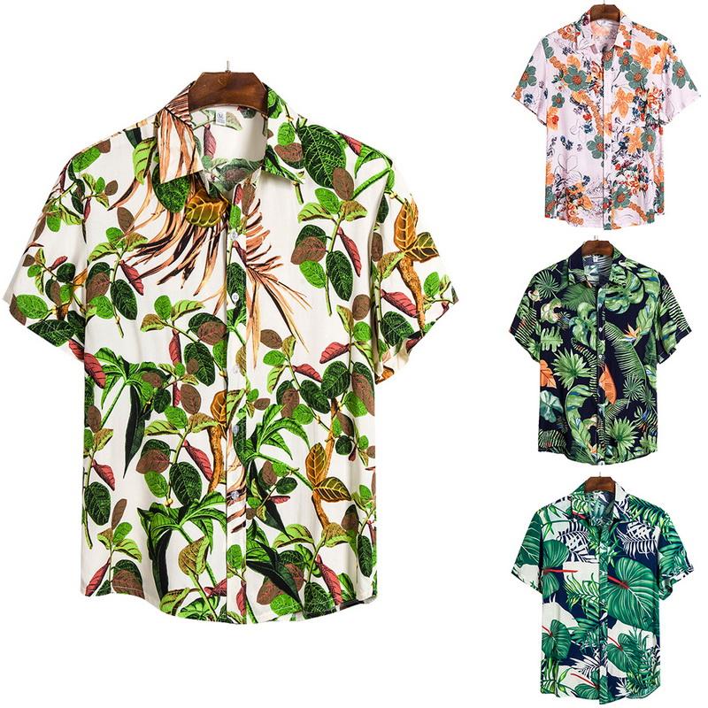 Plus Size Hawaiian Summer Beach Men Buttons Turn Down Short Sleeve Shirt Top FT