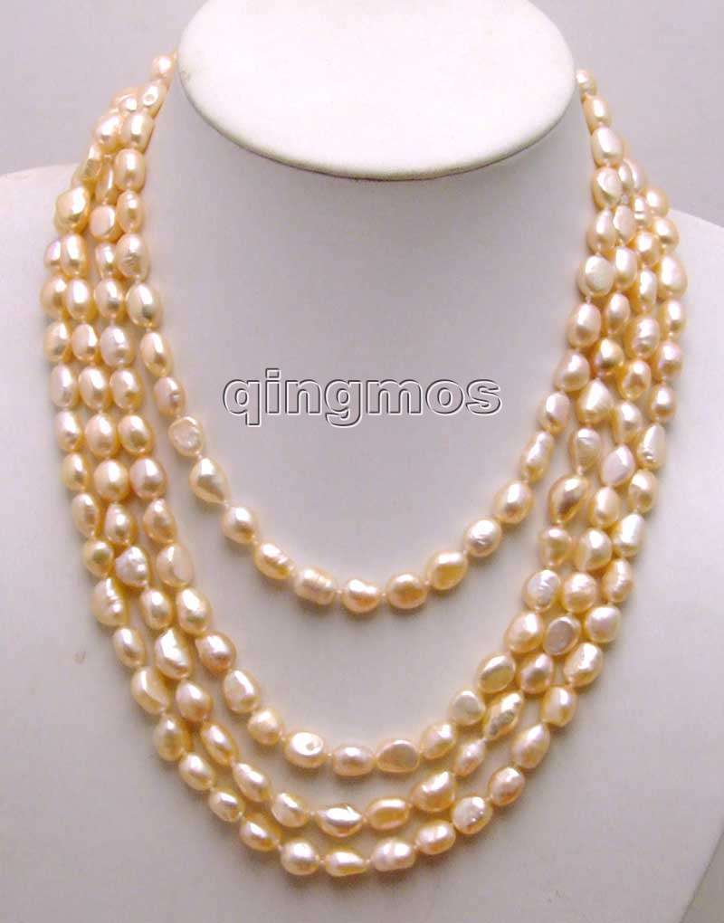 Natural 7-9mm Purple Irregular Cultured Pearl Necklace 18/'/'