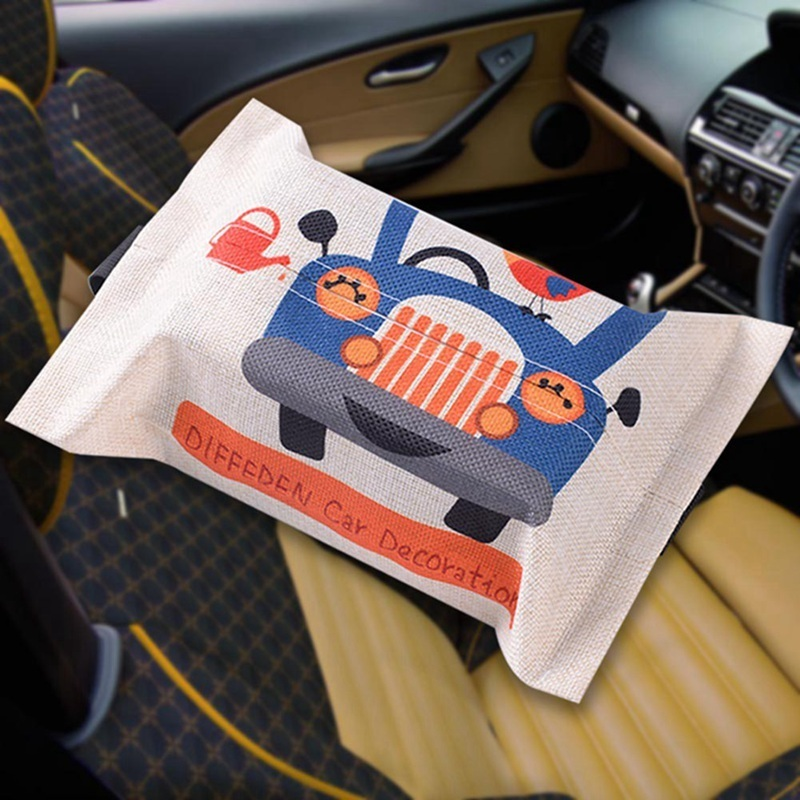 Cartoon Cloth Car Seat Back Hanging Storage Tissue Container Towel Napkin Papers Bag Holder Box Case C19042101