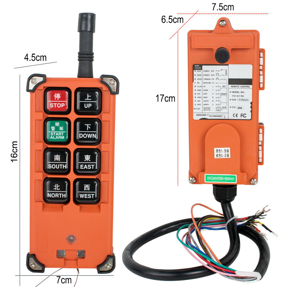 1/Sender + 1/Empf/änger Hoist Crane mit Double Speed Button RC Fernbedienung Bagger F21 2D AC//DC 65/V-440/V