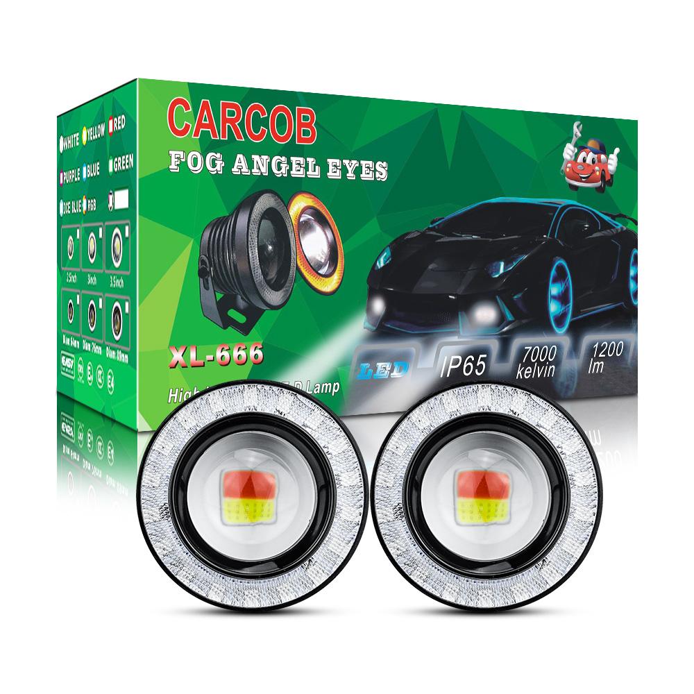 Pair 2.5inch Yellow COB Projector Fog Light w// Green Halo Angel Eye Ring DRL 12V