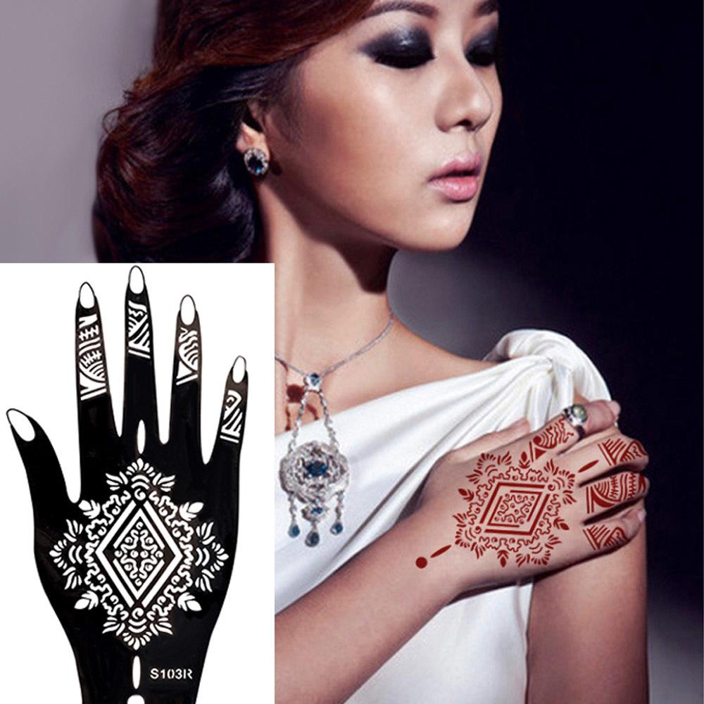 Catalogo Tattoo 2017 ywf colore nero mani henna stencil 2017 nuovo 10 modello body art vernice  hollow tatuaggi sticker uso con pasta all'henné t190628