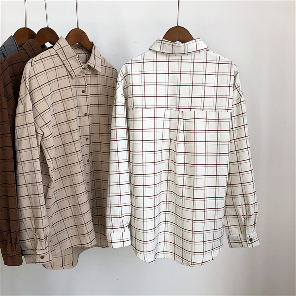 Loose cotton Checkered plaid College blouses shirt Cage female long sleeve Casual women Blouse shirt office lady tops (7)