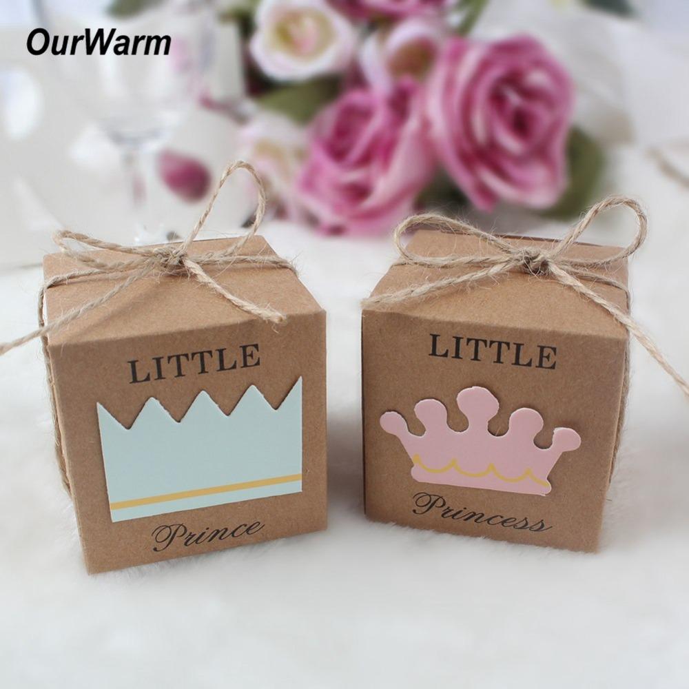 Cadeau Rigolo Baby Shower ourwarm 100pcs baby shower candy boxes petit prince princesse kraft papier  fête fournitures parti rose / bleu favor coffrets cadeaux