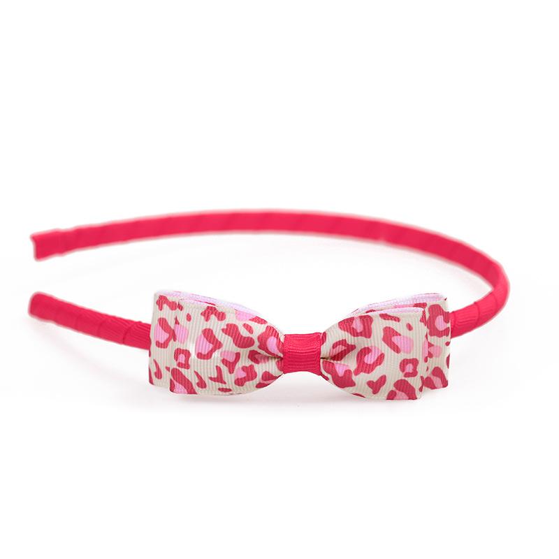 Boutique ins Fashion Cute Leopard Print Ribbon Bow Hairbands Solid Bowknot Hair Sticks Princess Headwear Hair Accessories