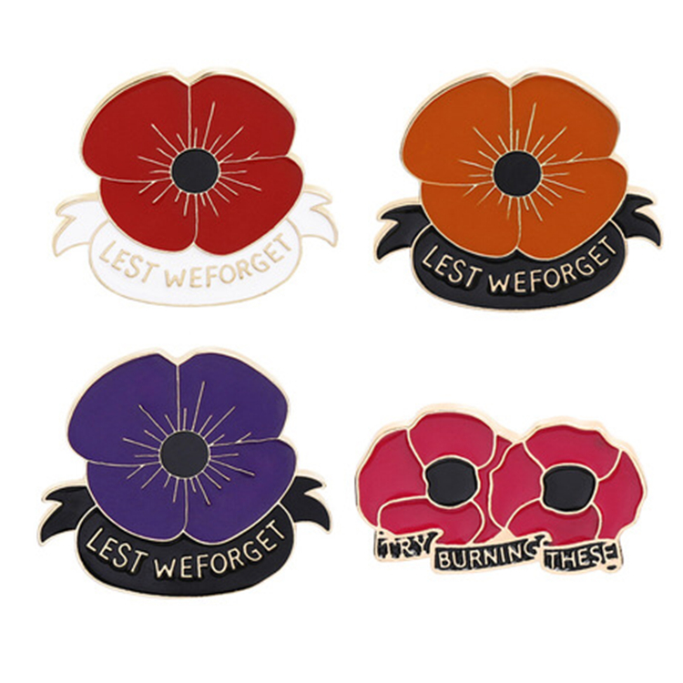 Red poppy pin Remembrance Sunday brooch Veterans Day lapel pins Memorial Day Flower Jewelry Pins Brooches HN56