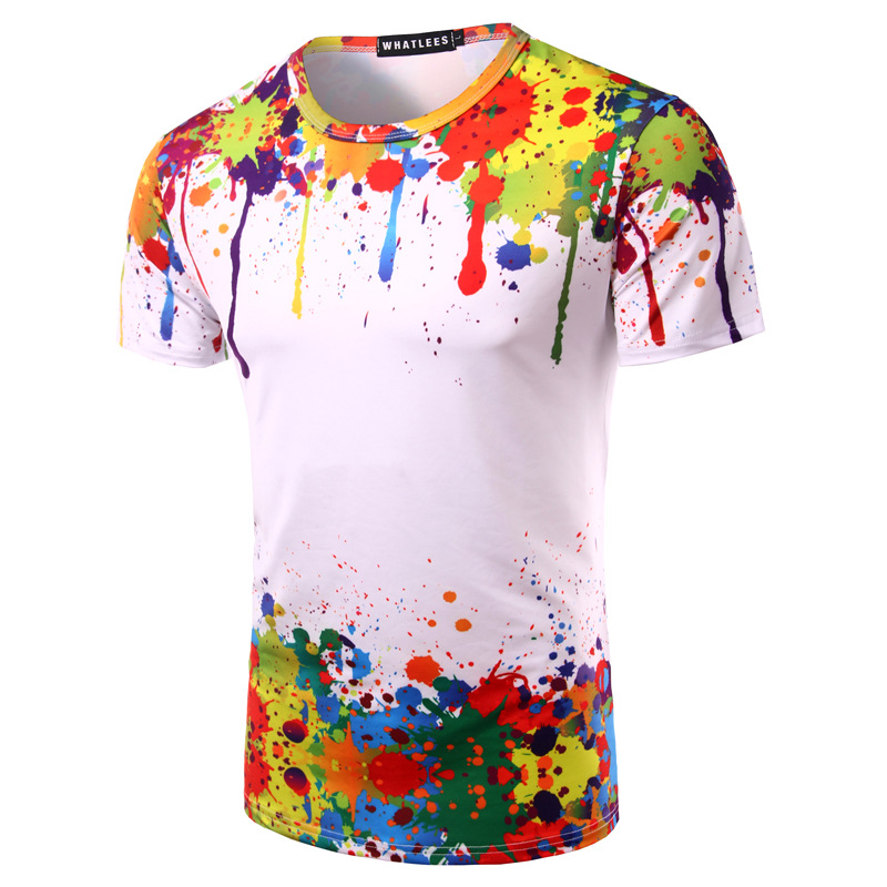 4165d0ca Splashed Paint Tops Summer T Shirt Men Short Sleeve Novelty Printed 3d T  Shirts Personality Round Neck Tees Zootop Bear Cool T Shirts For Boys  Online ...