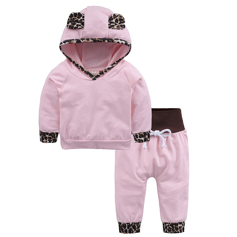 infant baby girl leopard hooded tops pink pants 2PCS outfit newborn baby boy outwear tracksuit cotton 2018 christmas clothes