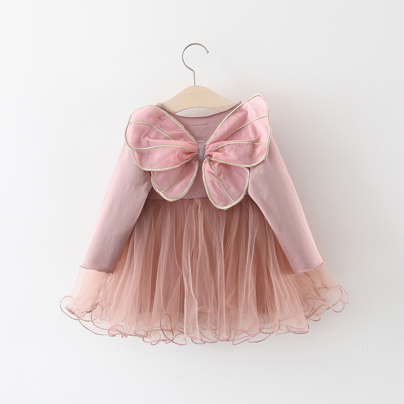 good quality infant baby girls dresses toddler pink color princess dress newborn back bow decoration mesh dress 0-2Y