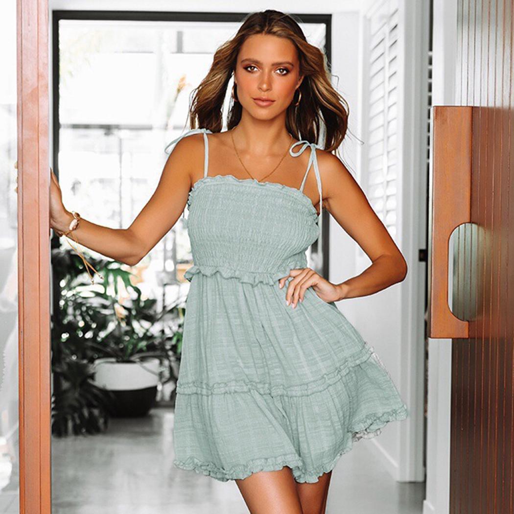 Mode Neue Mode Frauen Casual Spaghetti-Trägern Ärmelloses Kleid A-Linie Mode Kleidung / Bekleidungszubehör