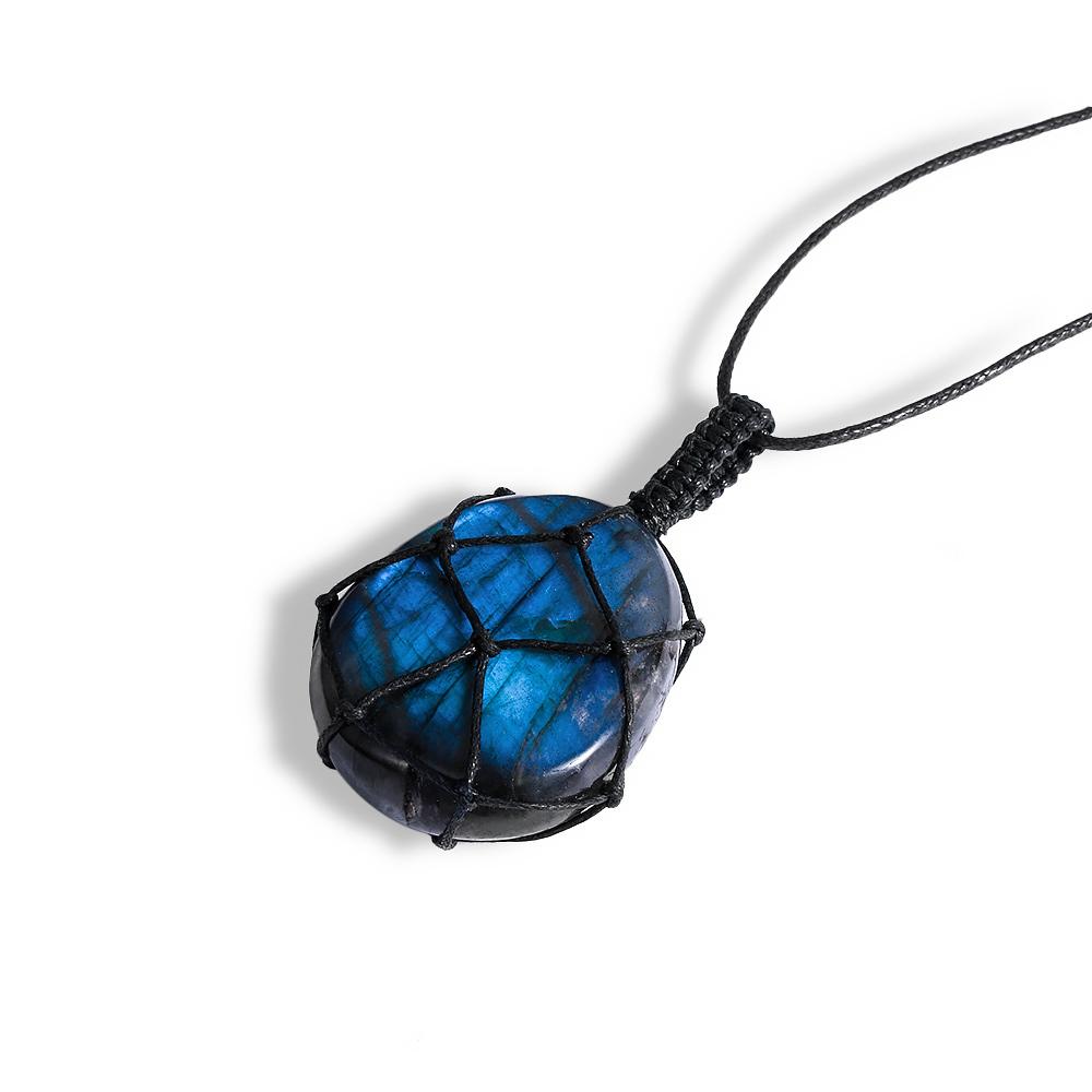 Yoga pierre naturelle Pendentif Cristal Pierre de Lune Coeur Labradorite Collier Wrap