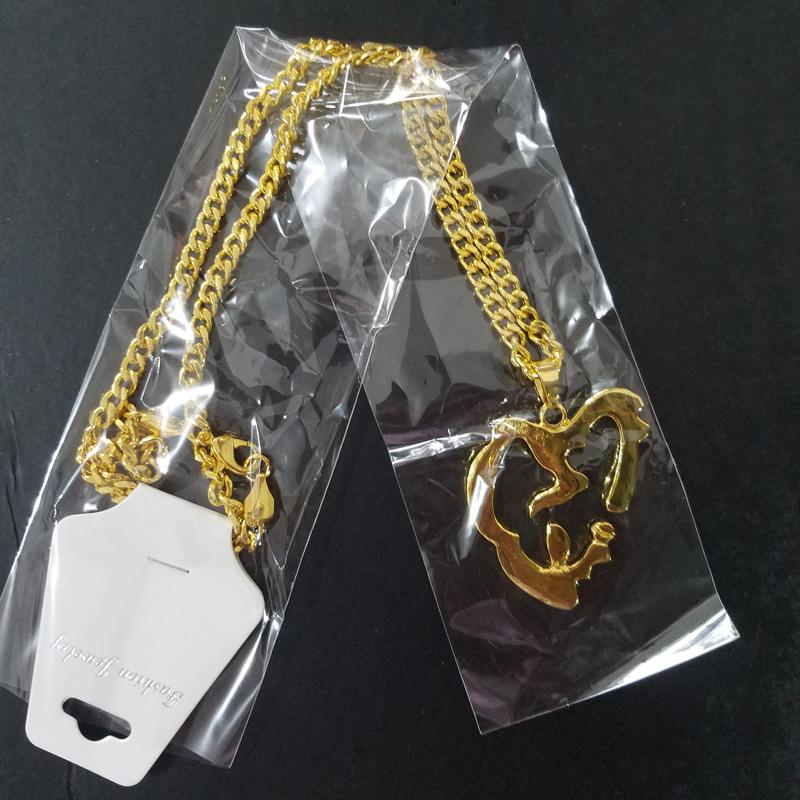 2018 New XXXTentacion rapper gold color pendant necklace men's Hip hop rock heart suspension jewelry Chain length 60cm